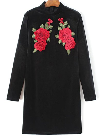 Long Sleeve Floral Embroidered Bodycon Dress - BLACK M Mobile