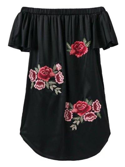 Off The Shoulder Floral Mini Dress - BLACK S Mobile