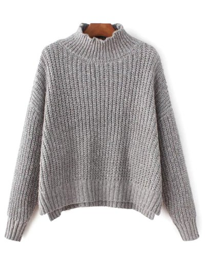 Chunky Mock Neck Sweater - GRAY ONE SIZE Mobile