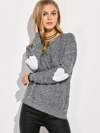 Heart Elbow Patch Round Neck Sweater - GRAY S Mobile
