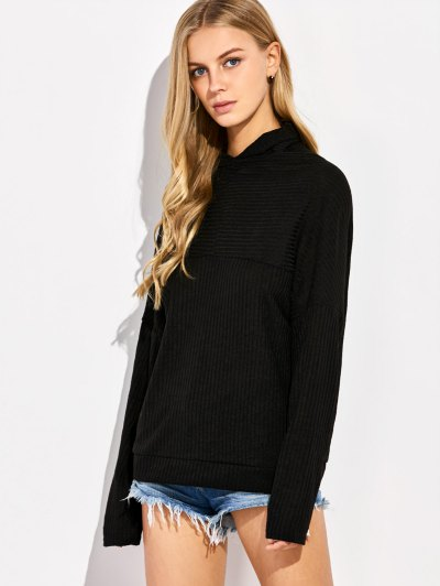 High Neck Batwing Sleeve Jumper - BLACK S Mobile