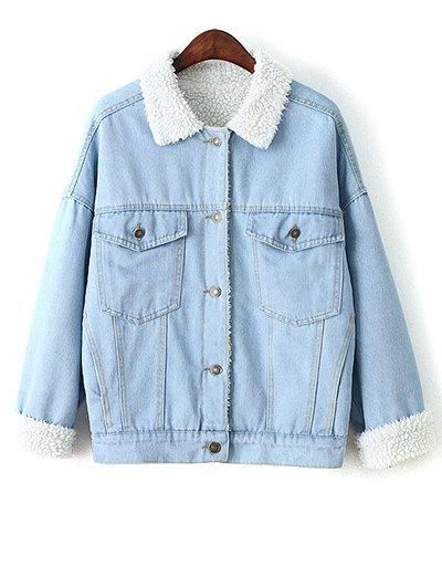 Faux Shearling Pockets Denim Coat - LIGHT BLUE L Mobile