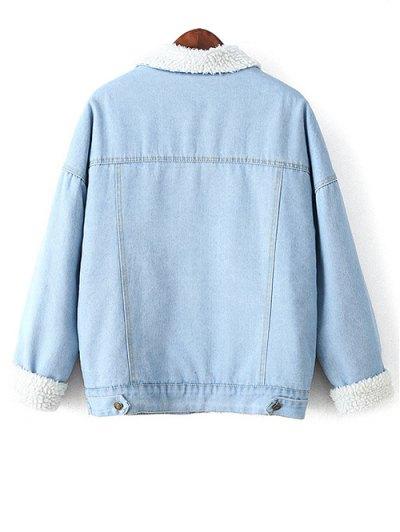Faux Shearling Pockets Denim Coat - LIGHT BLUE S Mobile
