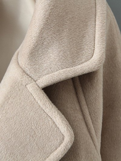 Woolen Lapel Collar Belted Coat - BLACK L Mobile