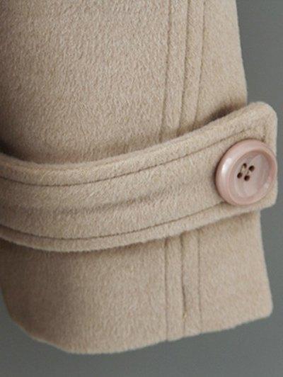 Woolen Lapel Collar Belted Coat - BLACK M Mobile