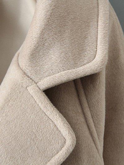 Woolen Lapel Collar Belted Coat - KHAKI M Mobile