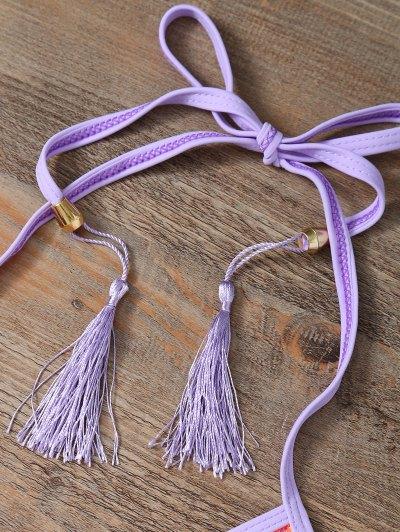 Halter Lace Patch String Bikini - PURPLE S Mobile
