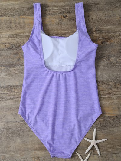 Backless Straps Padded Swimwear - PURPLE L Mobile