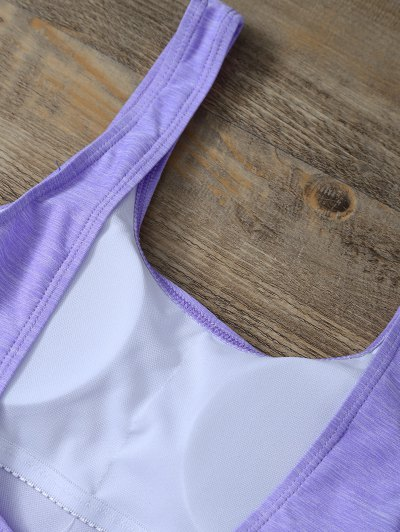 Backless Straps Padded Swimwear - PURPLE M Mobile