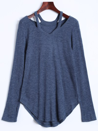 Cut Out V Neck Pullover Sweater - BLUE GRAY L Mobile