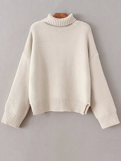 Oversized Turtle Neck Sweater - OFF-WHITE ONE SIZE Mobile