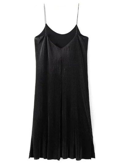 Pleated Slip Dress - BLACK M Mobile
