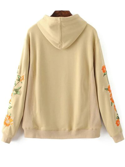 Floral Embroidered Big Pocket Hoodie - KHAKI M Mobile