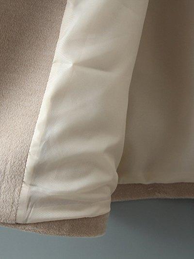Woolen Lapel Collar Belted Coat - BLACK XL Mobile