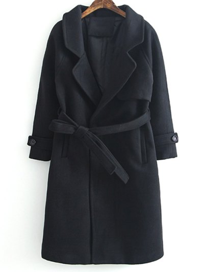 Woolen Lapel Collar Belted Coat - BLACK L Mobile