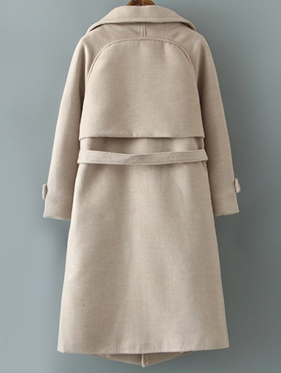 Woolen Lapel Collar Belted Coat - KHAKI M Mobile