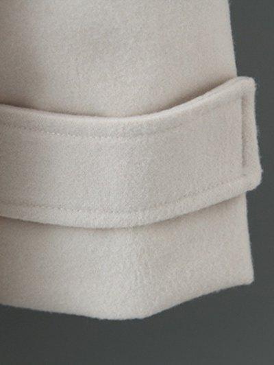 Fur Hooded Woolen Coat - ARMY GREEN L Mobile