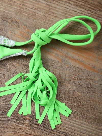 Halter String Tassels Bikini Set - GREEN M Mobile