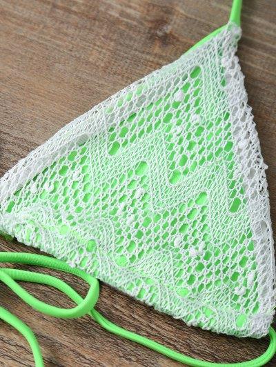 Halter String Tassels Bikini Set - GREEN S Mobile