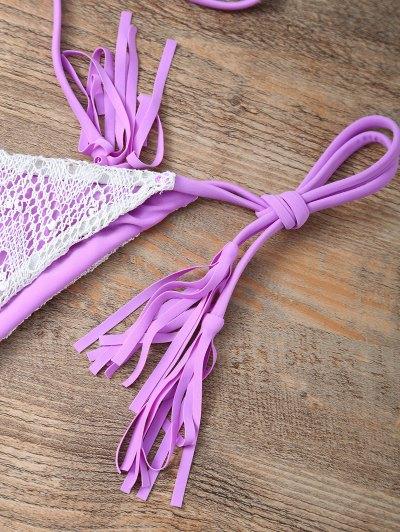 Halter String Tassels Bikini Set - PURPLE M Mobile