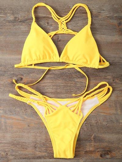 Strappy Cut Out Bikini Set - YELLOW L Mobile