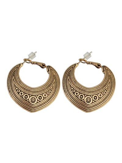 Etched Moon Hoop Earrings - GOLDEN  Mobile