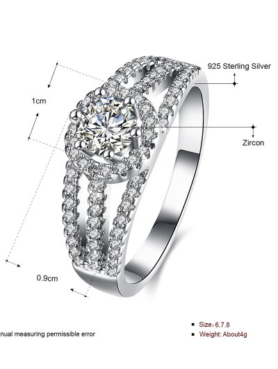 S925 Diamond Layered Ring - SILVER 6 Mobile