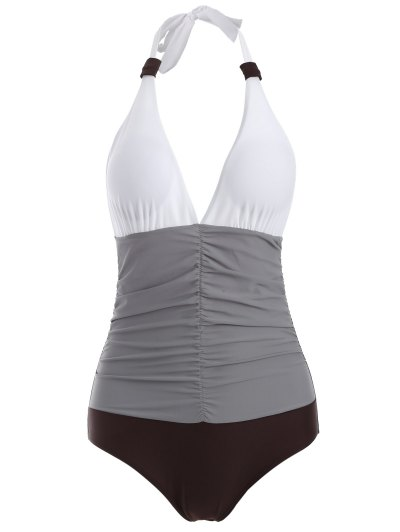 Ruched Color Block One-Piece Swimwear - GRAY L Mobile