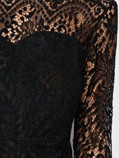 V Back Lace Dress With Sleeves - BLACK S Mobile