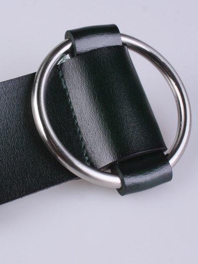 PU Round Buckle Adjustable Belt - BLACKISH GREEN  Mobile