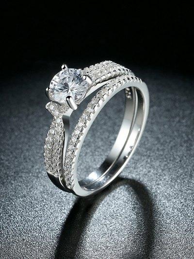 S925 Diamond Round Ring Set - SILVER 7 Mobile