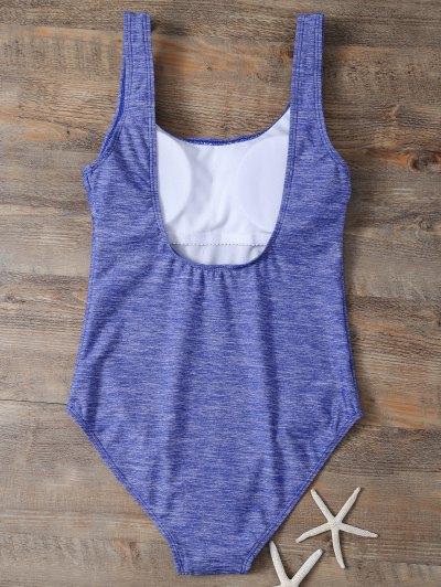 Backless Straps Padded Swimwear - BLUE L Mobile