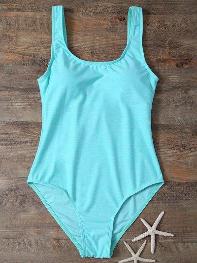 Backless Straps Padded Swimwear - LAKE GREEN M Mobile