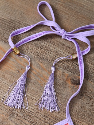 Halter Lace Patch String Bikini - PURPLE M Mobile