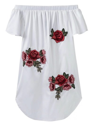Off The Shoulder Floral Mini Dress - White