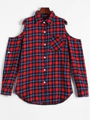 Plaid Buttoned Cold Shoulder Shirt