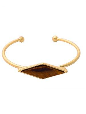 Bracelet En Alliage Avec Fausse Pierre Losangée - Or