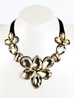 Water Drop Faux Crystal Ribbon Necklace - Yellow