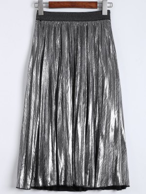 Metallic Color Pleated Tea Length Skirt - Silver