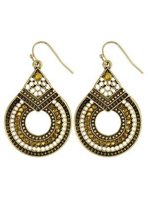 Rhinestoned Teardrop Earrings - Golden
