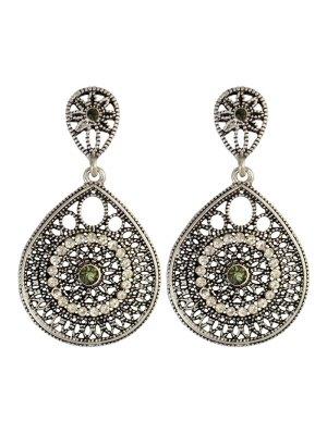 Vintage Teardrop Rhinestone Earrings - Silver