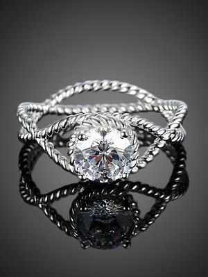 S925 Diamond Circle Ring - Silver