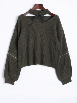 Zipper Choker Jumper - Blackish Green