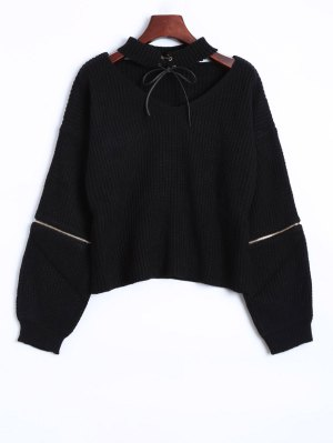 Zipper Choker Jumper - Black