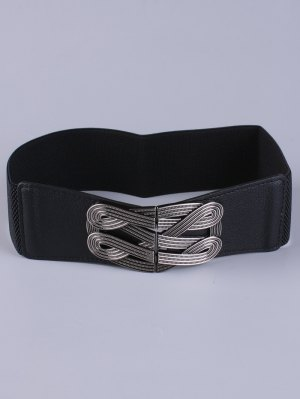 Faux Leather Stretch Belt - Black