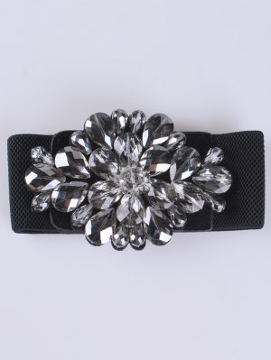 Faux Crystal Elastic Wide Belt - Black