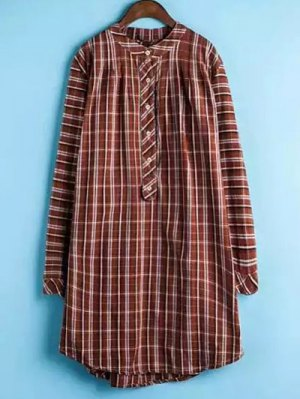Plaid Buttoned Long Sleeve Dress - Jacinth