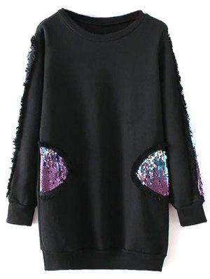 Sequins Crew Neck Long Sweatshirt - Black