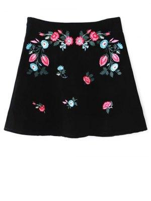 Ethnic Floral A-Line Skirt - Black