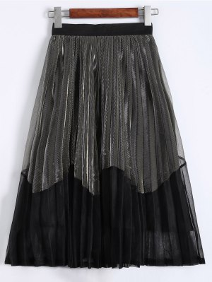 Pleated Color Block Tea Length Skirt - Champagne Gold